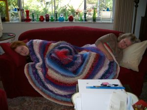 my mom's blanket in action (emily, a sister, on left & mom on right)